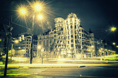 Chambre de danse à Prague la nuit Image stock