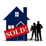 Chambre de famille d'acheteur de maison première Image libre de droits