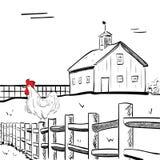 Chambre de ferme avec le coq illustration libre de droits