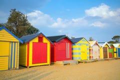 Chambre de plage colorée chez Brighton Beach, Melbourne photographie stock libre de droits