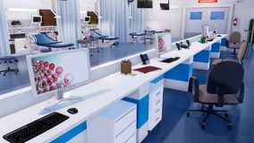 Chambre de secours moderne avec la station vide 3D d'infirmières illustration libre de droits