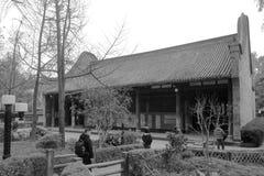 Chambre de temple de wuhouci, image noire et blanche images stock