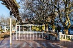 Chambre de thé vide au jour d'hiver - Turquie Images stock