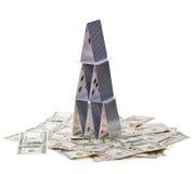 Chambre des cartes sur l'argent. photo stock