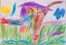 Chambre dessinée avec les crayons colorés Photos libres de droits