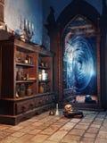 Chambre du ` s de magicien d'imagination illustration stock
