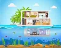 Chambre en coupe à l'intérieur d'intérieur Villa moderne illustration libre de droits