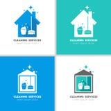 Chambre et concept de logo de services de nettoyage Photos stock