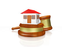 Chambre et juge Gavel Mallet Images stock