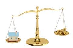 Chambre et pièces d'or sur les échelles, illustration 3D Images libres de droits