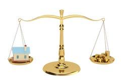Chambre et pièces d'or sur les échelles, illustration 3D Photos libres de droits