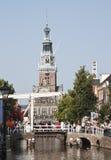 Chambre et pont-levis de pesage gothiques, Alkmaar Images libres de droits