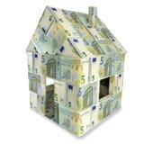 Chambre faite de 5 euro notes Image stock