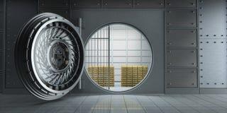 Chambre forte de banque énorme ouverte complètement de vue de face de barres d'or illustration stock