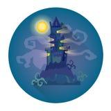 Chambre gothique de château dans l'icône de vacances de Halloween de clair de lune Photo libre de droits