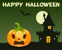 Chambre hantée par potiron vert de Halloween Photos libres de droits