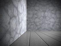 Chambre noire abstraite avec le mur en béton et le plancher de tuiles Images libres de droits