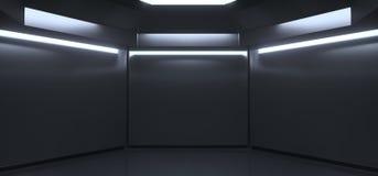 Chambre noire vide réaliste avec des lumières illustration stock