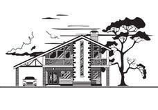Chambre ou cottage, graphiques de vecteur illustration libre de droits