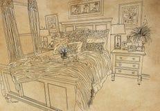Chambre pour deux personnes avec les oreillers d?cor?s image stock