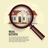 Chambre sous la loupe Illustration de vecteur des immobiliers Photographie stock libre de droits