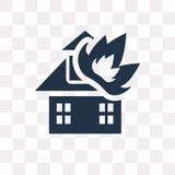 Chambre sur l'icône de vecteur du feu d'isolement sur le fond transparent, Ho illustration de vecteur