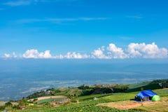 Chambre sur une colline et un chou cultivés sur la terre de ferme photos libres de droits