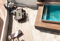 Chambre, vue de piscine Photo stock