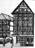 Chambres à colombage allemandes avec un café Photo stock
