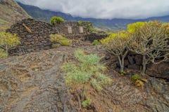 Chambres abandonnées en île d'EL Hierro Photo libre de droits