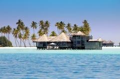 Chambres au-dessus de l'eau de mer tranquille transparente et d'un palmier maldives Photo libre de droits