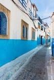 Chambres bleues et blanches d'Udayas, Rabat, Maroc Photographie stock libre de droits