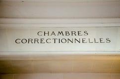 Chambres correstionnelles, γαλλικό κύριο άρθρο admnistration δικαιοσύνης chambres correctionnelles Στοκ Φωτογραφίες