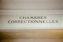 Chambres correstionnelles, Francuscy sprawiedliwości admnistration chambres correctionnelles Redakcyjni Zdjęcia Stock