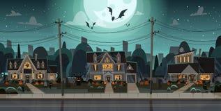 Chambres décorées pour des constructions individuelles Front View With Different Pumpkins, concept de Halloween de célébration de Photographie stock