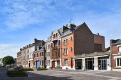 Chambres dans des Frances d'Amiens, l'Europe, allumée par le soleil lumineux Photographie stock libre de droits
