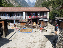 Chame村庄,尼泊尔 免版税库存照片
