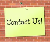 Chame-nos indica o telefone e o telefone do bate-papo Fotos de Stock