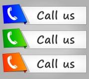 Chame-nos os botões de papel da Web do projeto Fotos de Stock