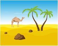 Chameau et paumes dans le désert, oasis illustration stock