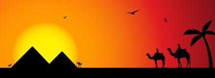 Chameaux au coucher du soleil illustration libre de droits