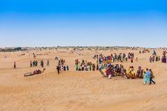 Chameaux dans le désert de Thar Images stock