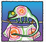 Chameleon. If you have the ability to change color, why not make it a fun change? Art marker and vellum with digital backdrop Royalty Free Stock Photography