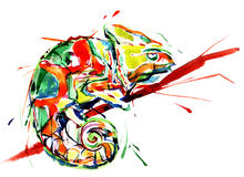 Chameleon. Graphic painting of cute colorful chameleon Royalty Free Stock Photos