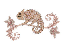 Chameleon on a branch with decorative roses in brown pink palett Stock Photography