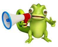 Chameleon cartoon character with loudspeaker Royalty Free Stock Image