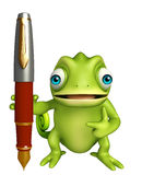 Chameleon cartoon character with pen Stock Photos