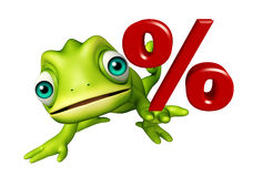 Chameleon cartoon character with percentage sign Stock Photography