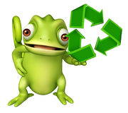 Chameleon cartoon character with recycle sign Stock Photos
