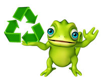 Chameleon cartoon character with recycle sign Royalty Free Stock Photography